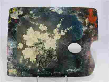 Antique painting on a pallete signed