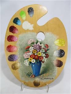 Antique painting on a pallete signed Al Parker