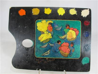 Antique painting on a pallete signed Fanita Lanier