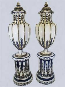 Antique Palace large Sarreguemines pair of urns with