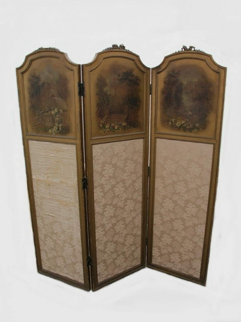 Antique French painted folding screen