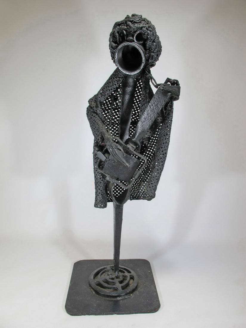 Modern Brutalist iron sculpture
