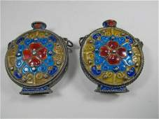 2 Antique Chinese Export silver & enamel miniature