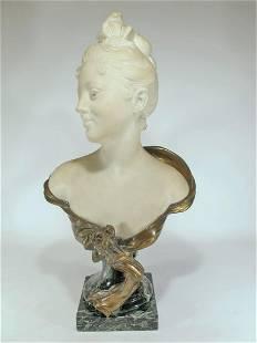 Eugene MARIOTON (1854-1933) bronze & marble bust
