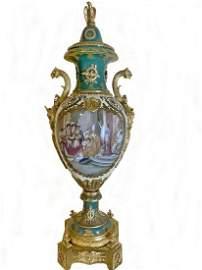 19th C Huge French Sevres bronze & porcelain urn