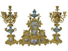 19th C gilt bronze & Sevres porcelain clock set