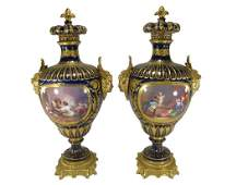 Antique French pair of bronze & porcelain urns