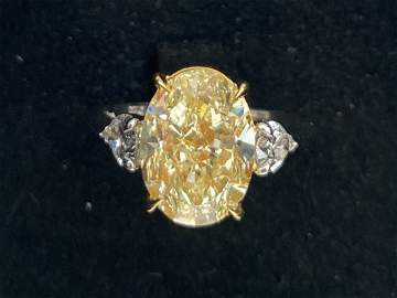 Antique Fancy Light Yellow diamond (VS2- 5.09 ct)) ring