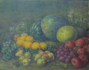 Signed E. Fornells oil on canvas fruits painting
