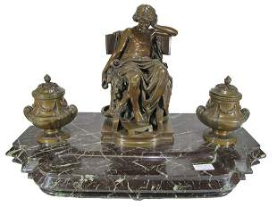 Antique Susse Freres bronze & marble inkwell