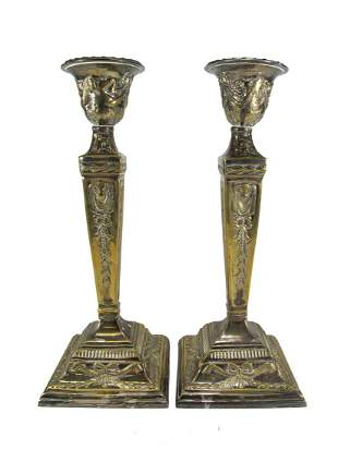 Antique pair of silverplate candlesticks