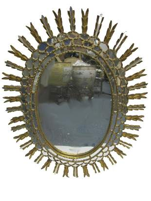 Vintage gilt wood & glass wall mirror