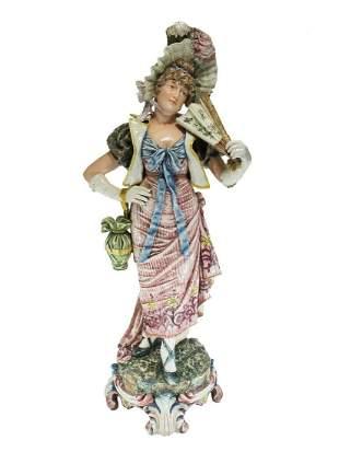 Huge Antique Victorian Majolica Woman statue