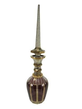 Antique Moser large gilt crystal bottle