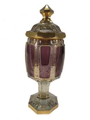 Antique Moser gilt crystal jar