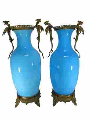 Antique French pair of blue opaline & bronze vases