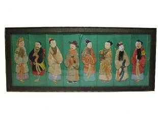 Vintage Oriental fabric & paper panel