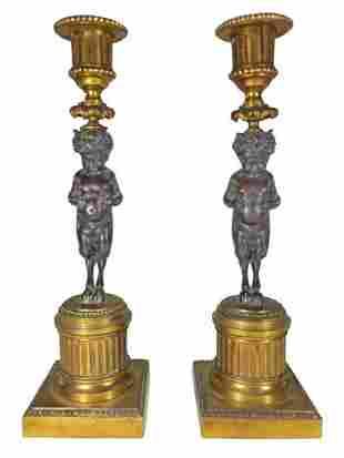 Antique French pair of gilt bronze candlesticks