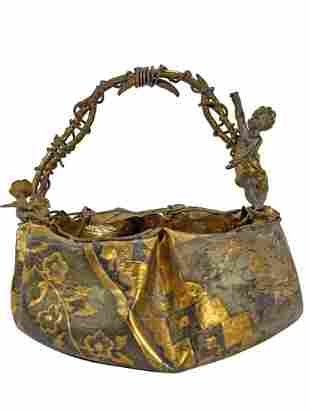 Antique French gilt & silver bronze  basket