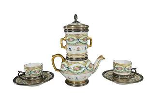Antique French Sevres silver & porcelain coffeepot set