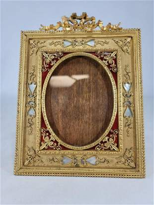 Antique French gilt bronze & enamel picture frame