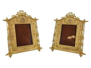 Antique French pair of gilt bronze picture frames
