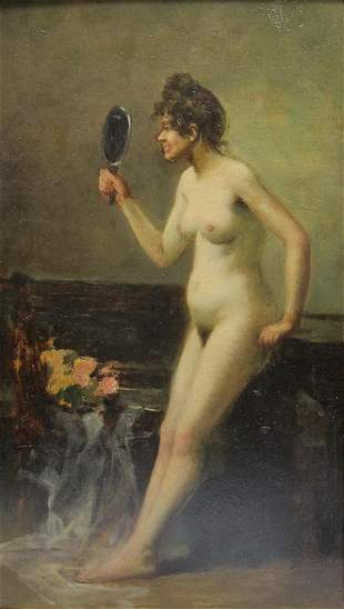 Antique European nude painting, unsigned