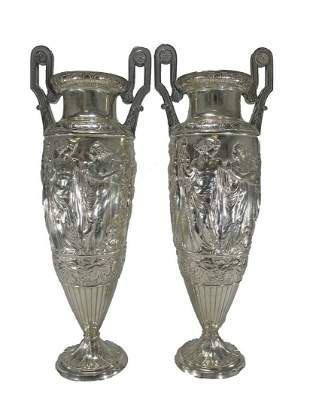 Antique German WMF pair of silverplate urns