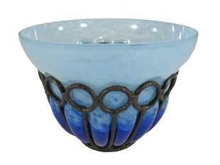 Art Deco Schneider wrought iron mounted glass vase