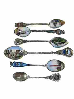 Antique set of 6 silver & enamel spoons