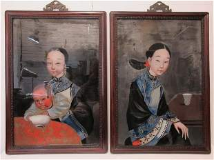 Antique Chinese pair of reverse glass paintings