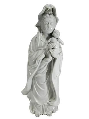 Vintage Chinese Blanc de Chine porcelain statue