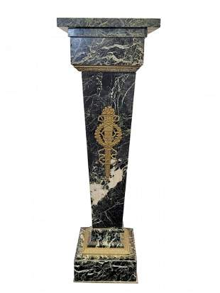 Antique French marble & bronze pedestal
