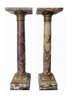 Antique French pair of marble & bronze pedestals