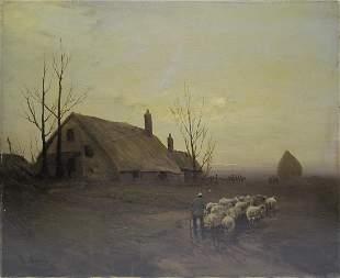 Signed H. VIDAL antique oil on canvas landscape