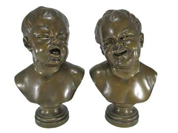 19th C pair of broze busts, E. Tassel Foundry