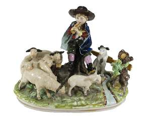 Capodimonti boy with sheeps porcelain statue