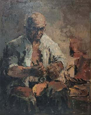 Vintage oil on canvas man painting, signed