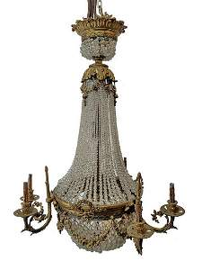 Antique large French bronze & glass chandelier