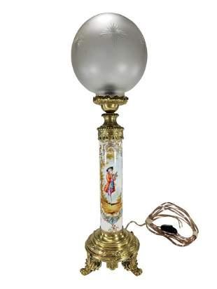 Vintage European porcelain, glass & bronze lamp