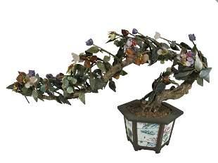 Vintage Chinese bronze, porcelain & stones Bonsai tree