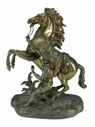 Vintage man holding horse bronze sculpture