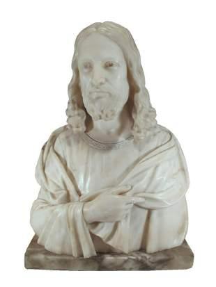 Signed GUERRIERI Jesus alabaster bust