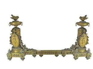 19th C French gilt bronze fireplace set