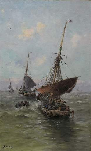 Henri ARDEN (1858-1917) oil on canvas ships painting
