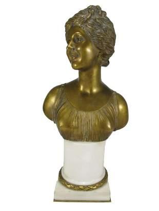 Antique European bronze & marble bust, signed