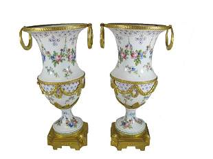 Antique French Sevres pair of gilt bronze & porcelain