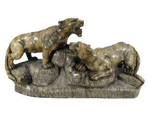 Antique Italian signed panthers alabaster sculpture
