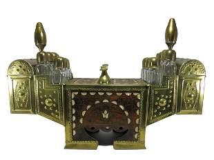 Vintage Turkish Ottoman brass & inlaid shoe shine box