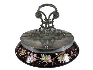 Antique Victorian purple glass & metal basket